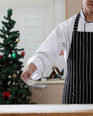 Chef with flour on hands — Stock Photo