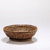 Bamboo basket on the white background — Stock Photo