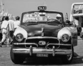 Old taxi cab at the port — Stock Photo