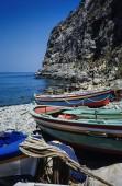 Wooden fishing boats ashore — Stock Photo