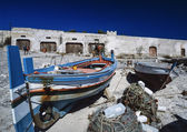 Wooden fishing boats at the old tuna fishing factory — 图库照片