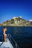 Old Genoese fort from the sea — Stock Photo