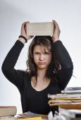 Female student stressed by homework — Stock Photo