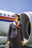 Stewardess near the airplane — Stock Photo