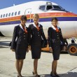 Flight assistants near an airplane — Stock Photo #61760091