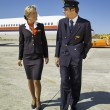 Flight assistants near an airplane — Stock Photo #61837501