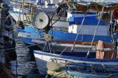 Wooden fishing boats in the port — Stock Photo