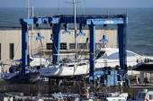 Luxury yachts being refurbished in the marina — Stockfoto