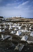 View of a muslim cemetery and the lighthouse in Tunisia — Stock Photo