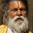 Old indian Sadhu in a Hindu Temple — Stock Photo #77851752