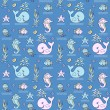 seamless pattern with ocean animals — Stock Vector #53699697