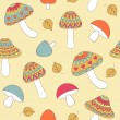 Seamless pattern with abstract mushrooms — Stock Vector #63423667