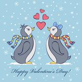 Valentine's card with penguines — Vector de stock