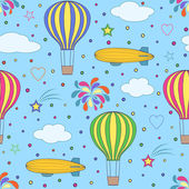 air balloons and airships on the blue sky — Stock Vector