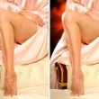Comparison legs of a woman without and with retouching — Stock Photo #71201345