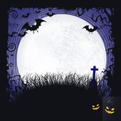 Full moon Halloween background with bats, cross and full moon — Stock Vector