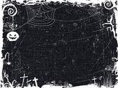 Marco blanco y negro grunge halloween — Vector de stock