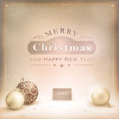 Desaturatet golden Christmas background with baubles — Stockvector