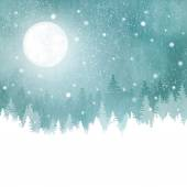 Winter landscape with snowfall, fir trees and full moon — Stockvektor