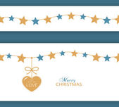 Christmas star border and heart. The Gift of Love — Stock Vector