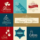 Набор иконок плоского Рождества и счастливого нового года — Cтоковый вектор