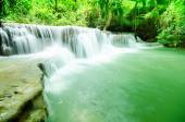 Huai Mae Khamin waterfall in deep forest National Park Kanjanabu — Stock Photo