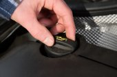 Close view from opening the car  oil cap — Stock Photo