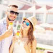 Young couple and ice-cream — Stock Photo