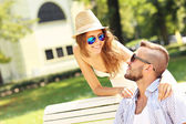 Young couple dating in the park — Stock fotografie