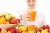Woman and fruit juice — Zdjęcie stockowe