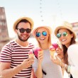 Friends eating ice-cream in Gdansk — Stock Photo #79090072