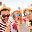 Friends eating ice-cream in Gdansk — Stock Photo #79090240