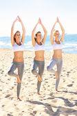 ビーチでヨガの練習の女性のグループ — ストック写真