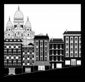 Montmartre cityscape — Stock Vector