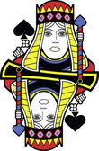 Stylized Queen of Spades no card — 图库矢量图片