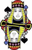 Stylized Queen of Spades no card — Stok Vektör