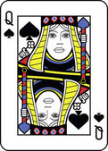 Stylized Queen of Spades — Stock Vector