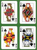 Four Queens of Clubs — Stock Vector