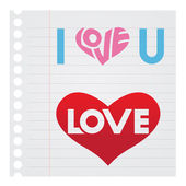 I Love You Text on Notebook Paper Stock Illustration — Stock Vector