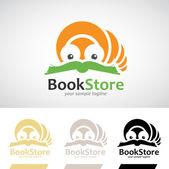 Book Worm Reading a Book Logo Icon — Stock Vector