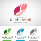 Colorful Cartoon Feather Logo Icon — Wektor stockowy