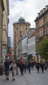Street Kobmagergade and a round tower — Stock Photo