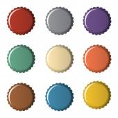 Colorful bottle caps — Stock Vector