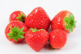 Six red strawberries - fresh and delicious — Stock Photo