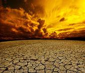 Desert and cloudy sky — Stockfoto