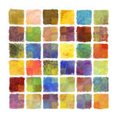 Colorful paint square background on watercolor paper — Stock Photo
