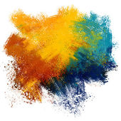 Colorful paint splash on watercolor paper background — Stock Photo