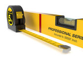 Spirit level and tape measure — Stock Photo