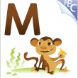 Animal alphabet for the kids: M for the Monkey — Stock Vector #62096835