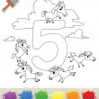 Collection Coloring Book for Kids: Number 5, Horses — Stock Vector #62097147